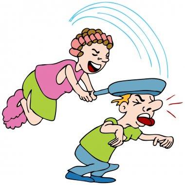Woman Hitting Man With Frying Pan