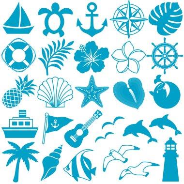 summer decorative icons illustration