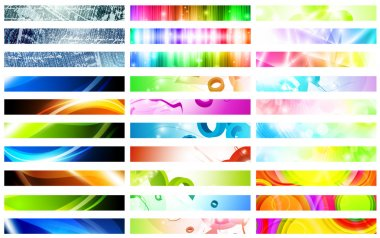 Mega pack of bright multicolored web banner set over white stock vector