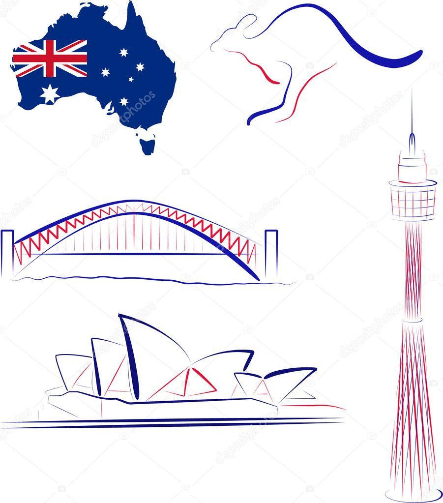 Australien Sehenswürdigkeiten und Symbole — Stockvektor © KatSov ...