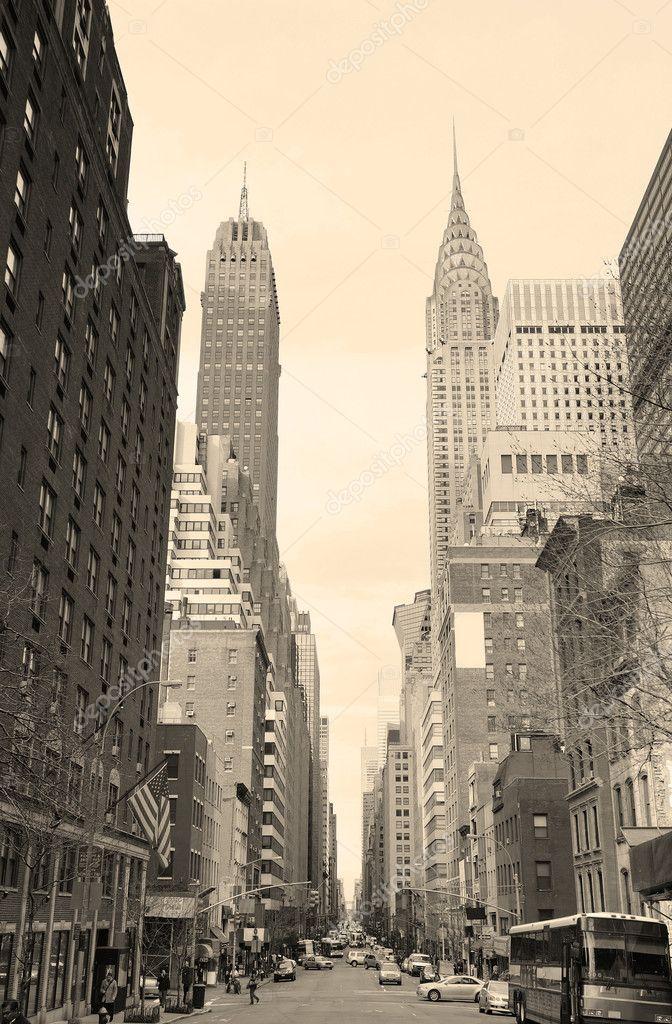 New York City Manhattan street view black and white ...