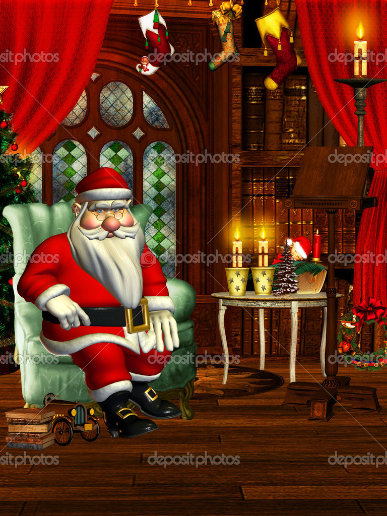 santa in living room picture sala de estar de la santa foto de stock 169 digitalartb 21511