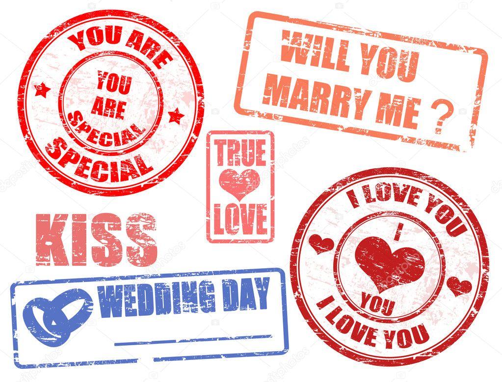 Wedding stamps — Stock Vector © roxanabalint #6153189