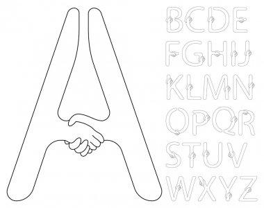Contour handshake alphabet