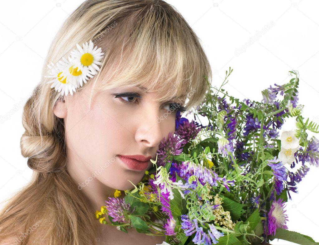 Beautiful girl with flowers stock photo byelikova 5812487 portrait of beautiful girl with flowers photo by byelikova izmirmasajfo
