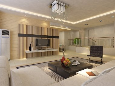 Modern living room.3d render.