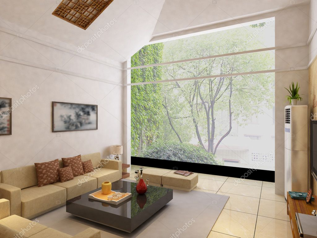 Interior fashionable living-room rendering — Stock Photo ...