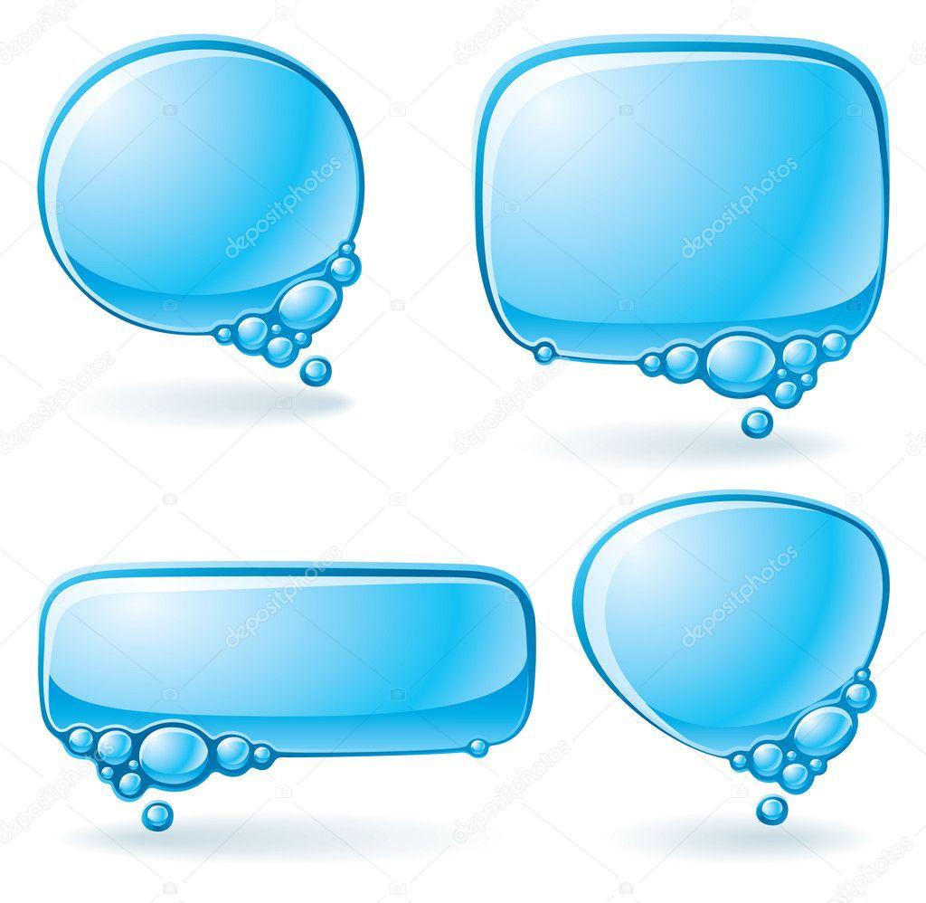 Aqua speech bubble set