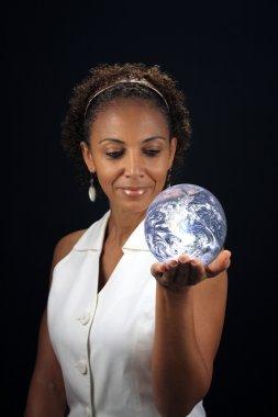 Beautiful Mature Black Woman Holding the Earth