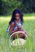 Fényképek Beautiful Woman in Grassy Field with a Basket (3)