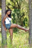 Fényképek Beautiful Woman Between Two Pine Trees (2)