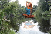 Photo Beautiful Blonde Suspended Above River