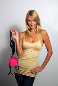 Photo Beautiful Blonde Holding a Bra (1)