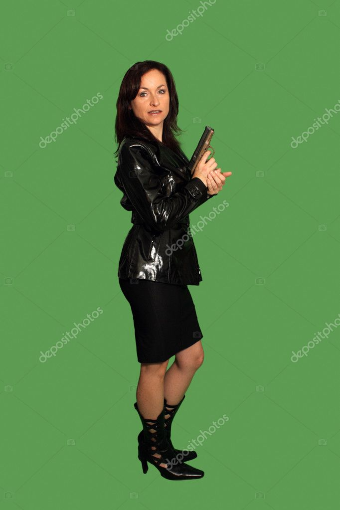 Beautiful Brunette with a Pistol (1)