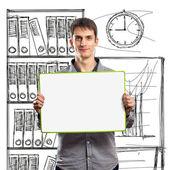 Fényképek férfi írni testület a kezében