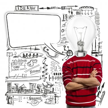 Male in red and lamp-head with speech bubble