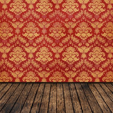 Retro background vintage room floral wallpaper and wooden parquet