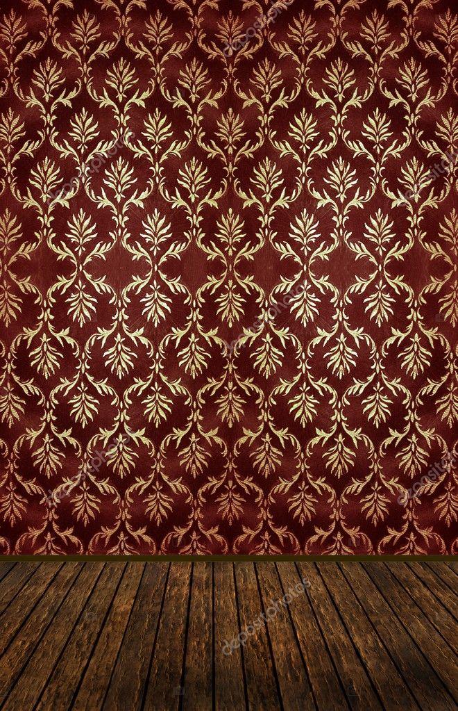 Vintage room with golden damask wallpaper