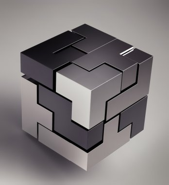 Black 3d futuristic cube