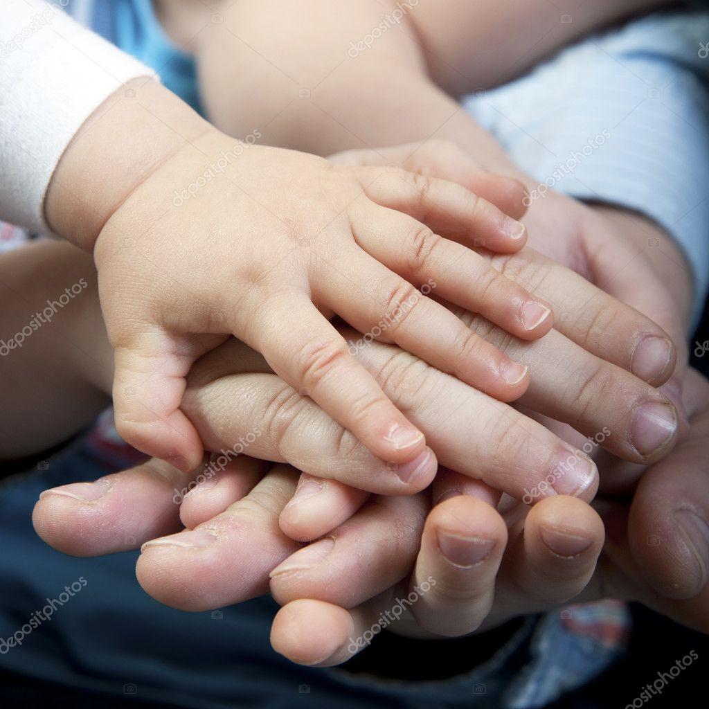 Family hands closeup stock vector