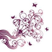 Fotografia ornamento di angolo fiore e farfalla viola