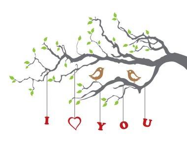 Birds in love on a tree branch