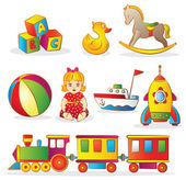 Fotografie reihe von bunten kinderspielzeug