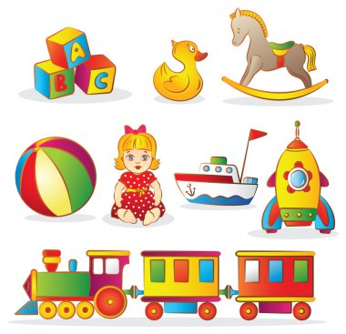 Set of colorful children's toys stock vector