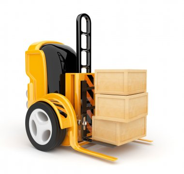 Industrial forklift with a load of. The futuristic robot. 3d ill
