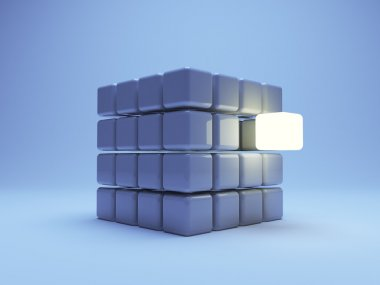 Illuminated cube 3d on blue background