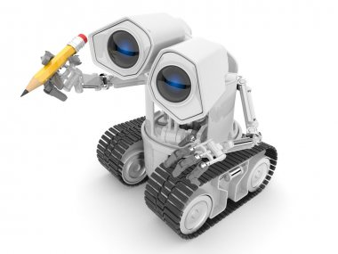 Robot hold a pencil in a hand. 3d person. illustration isolated