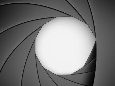 Camera shutter aperture. 3D illustration