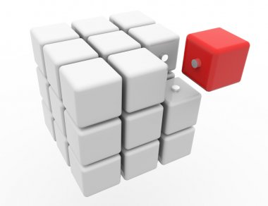 Cube 3D isolated on a white background.