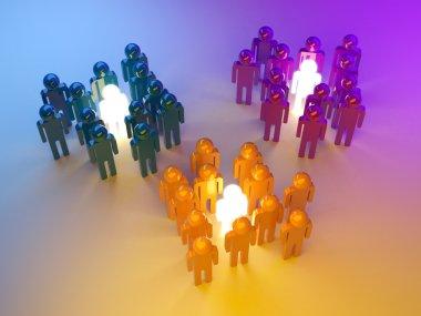 Leadership. Management of groups. 3d illustration