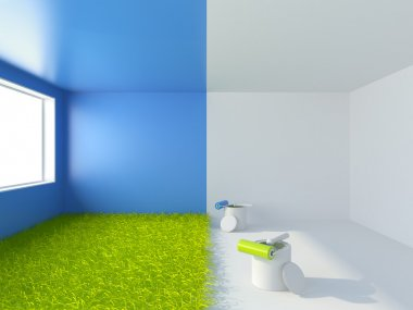 Painting of a room. Interior 3d illustration