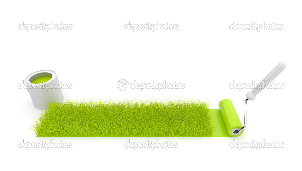 Paint roller draw a grass. Isolated. 3Di llustration
