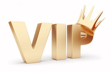 VIP 3D text with crown. Isolated on white