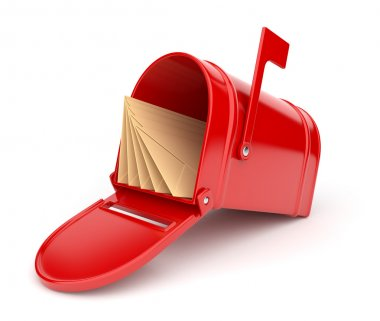 Red mail box with letters. 3D illustration isolated