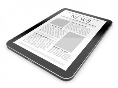 Business news on tablet pc. Mobile device concepts 3D. isolated