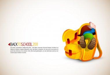 Cute Boy Looking for Something in his Huge School Backpack