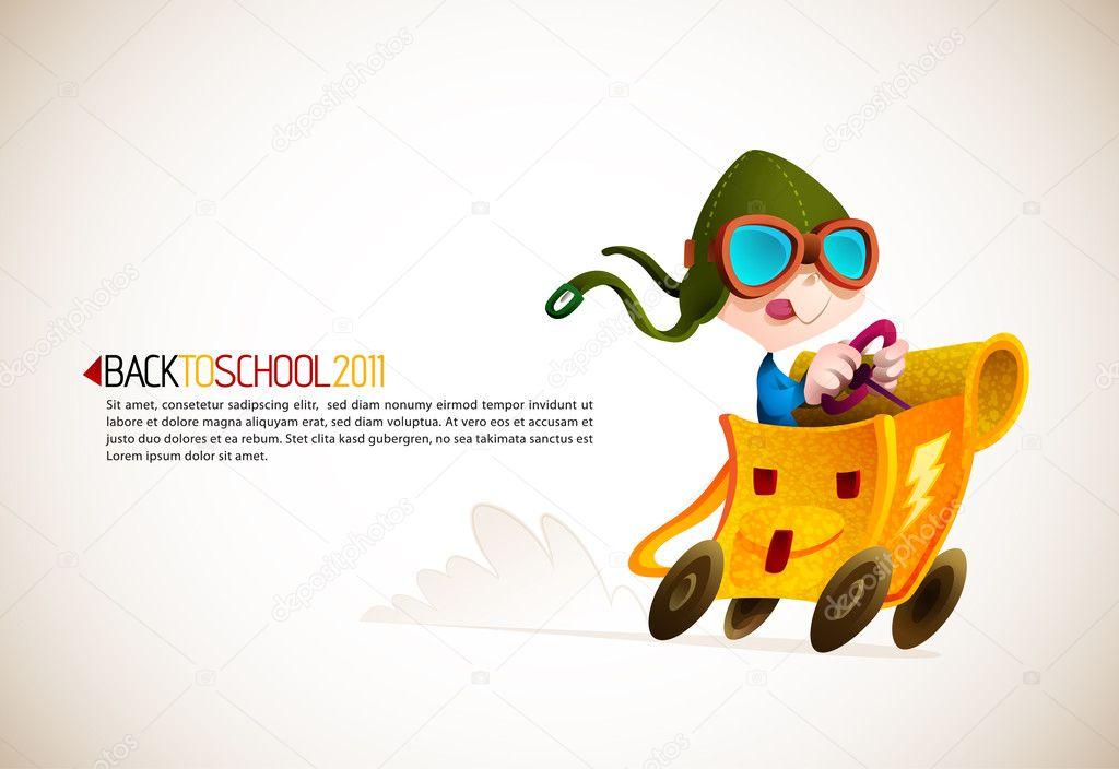 Cute Boy Racing his School Backpack