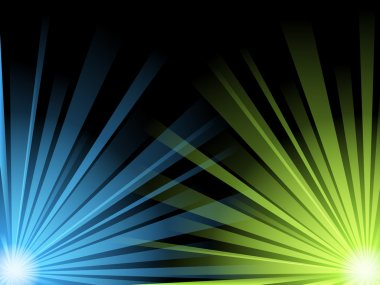 Abstract illustration of blue and green light beams on black