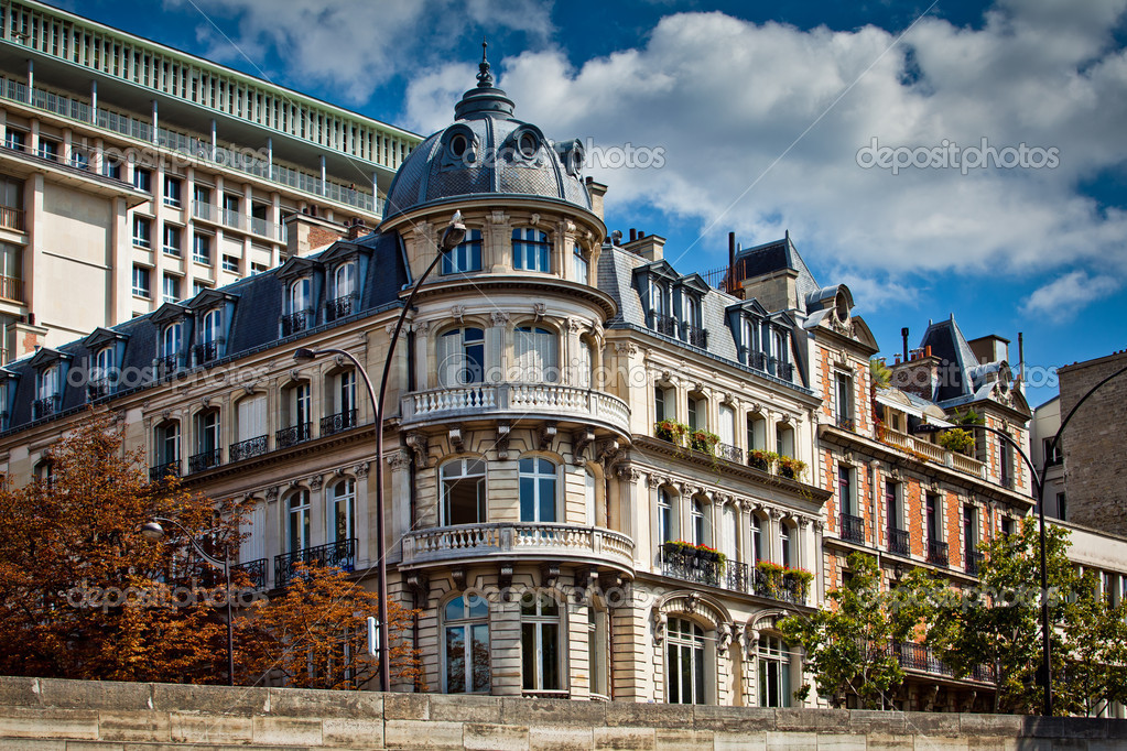 Typical french architecture facades, Paris — Stock Photo ...