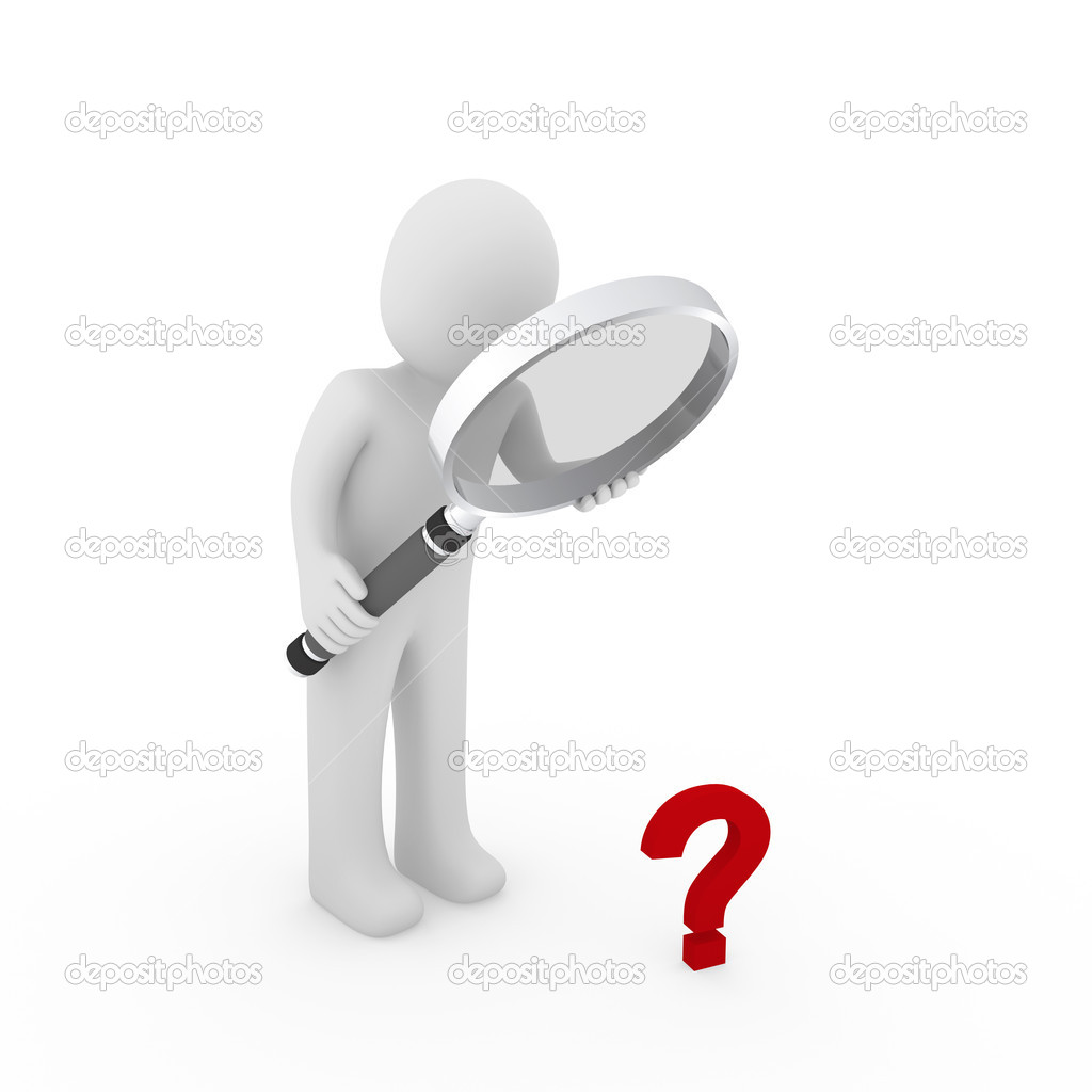 3d person with magnifying glass and question mark stock images image - 3d Magnifying Glass Question Mark Red Stock Photo 5614526