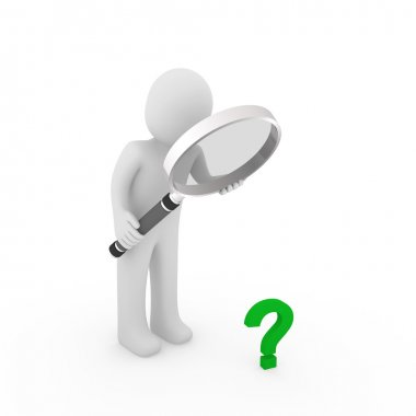 3d magnifying glass question mark green