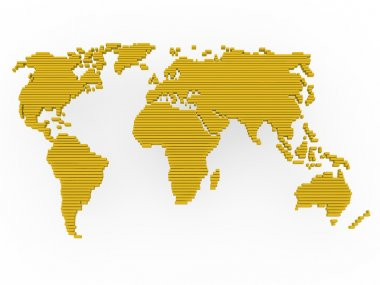 World map gold yellow