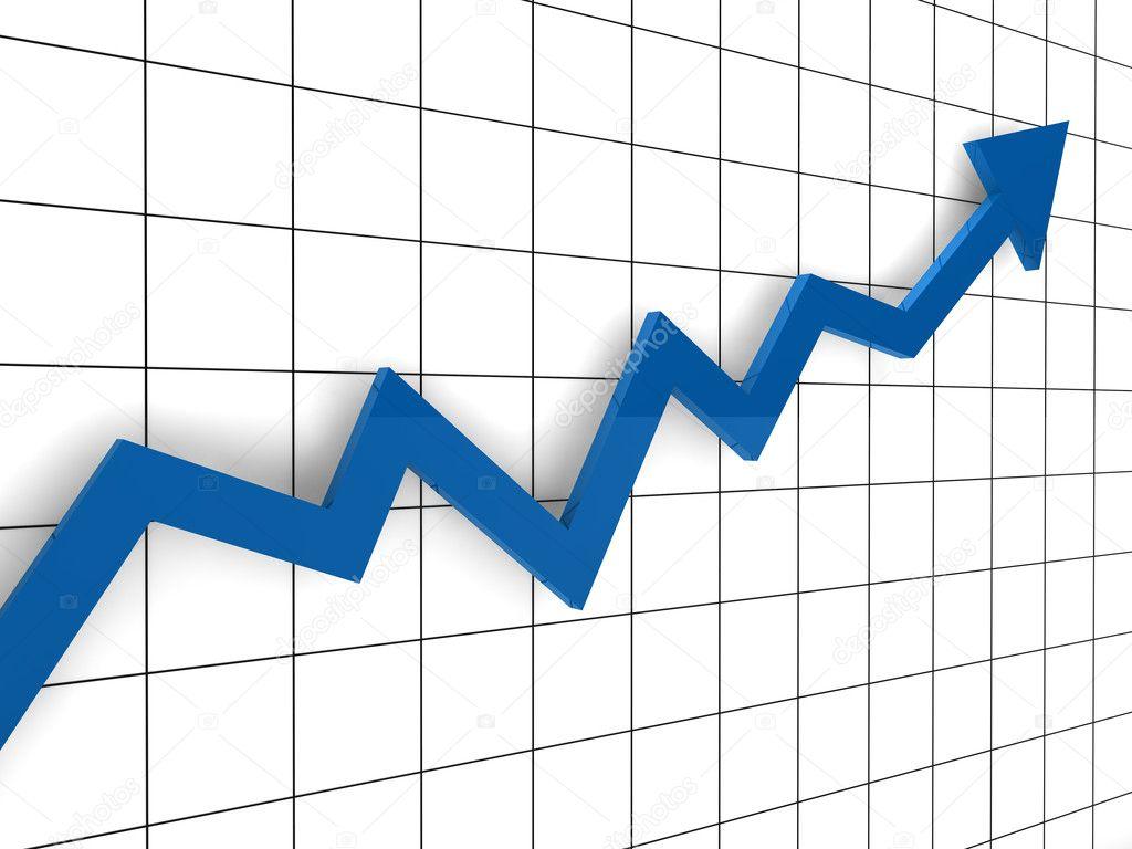 3d graph arrow blue