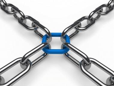 3d chain chrome blue