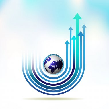 Blue Earth with colored arrow over sky background clip art vector