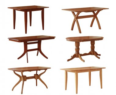 Set of various wooden tables